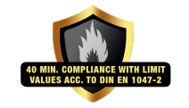 40 min compliance with limit values acc to DIN EN 1047-2